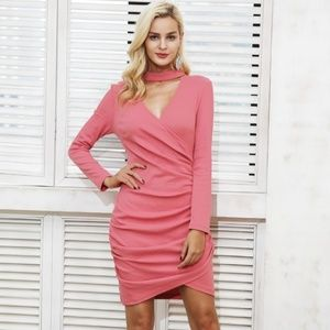 Dresses & Skirts - Pink Sexy V-neck Choker Knitted Faux Wrap Dress
